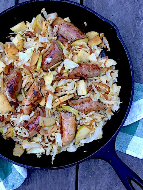 Sausage Cabbage, and Apple Skillet
